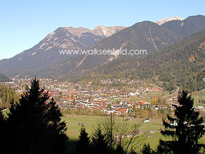 View down to Mittenwald from the Gletscherschliff guesthouse