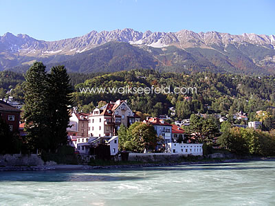 The River Inn in Innsbruck with the Karwendel mountains as backdrop