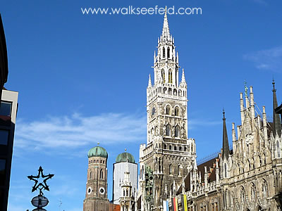 The town hall and Frauenkirche in the centre of Munich