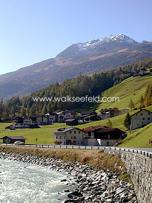The village of Sölden in the summer months