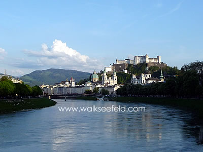Salzburg castle and old town seen from the river